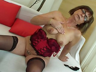Mature amateur granny Jana strips plus gets fucked by a broad in the beam cock