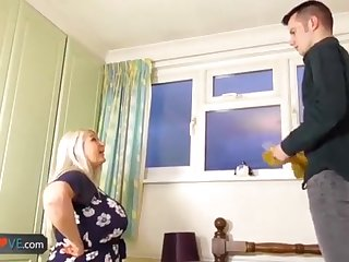 AgedLovE Elderly Chesty Blond Grandmothers Lacey Hard-Core