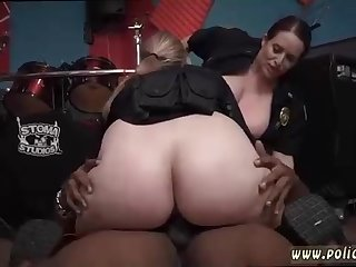 Ample booty police female is ravaging a stunning, dark-hued boy, while her acquaintance is waiting for her turn