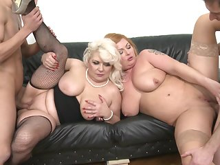 Two buxom slutty MILF babes Alex and Sofia please a lucky cock