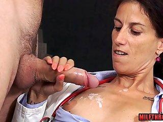 Sensual MILF handjob with ejaculation