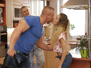 DADDY4K. Curly-haired babe and mommy man try old and..