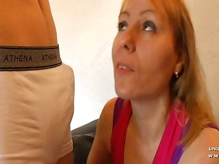 French mom hard sodomized by young dude with cum to mouth