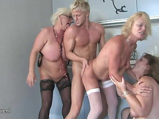 Three mature women party with one hard cock