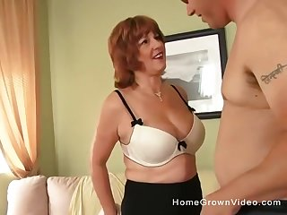 Chubby mature housewife fucks a gigolo every time her husbands leaves