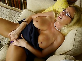 Cala has long blonde hair and a shaved mature pussy in heat