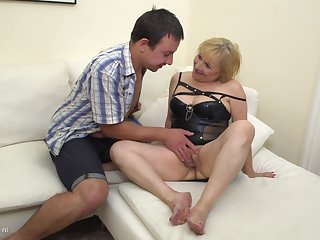 Chubby mature amateur blonde Lisah pounded doggy style hard