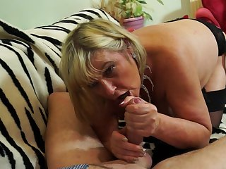 Buxom mature blonde amateur Alisha Rydes rides a cock and swallows cum