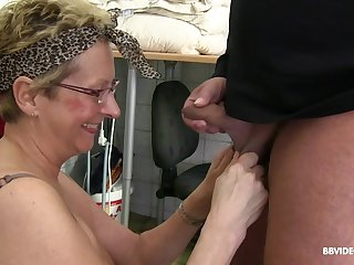 Mature chubby blonde with glasses gangbanged and sprayed with cum