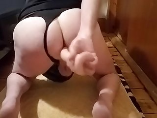 Amateur crossdresser taking a dildo deep in his ass! Whore!