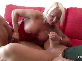 Shameless mature hooker blows long bent young cock