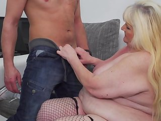Granny Leona C. bounces on his cock with her fat body