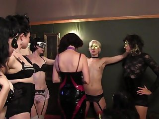 Fetish sex party with a lesbian sub serving lots of ladies