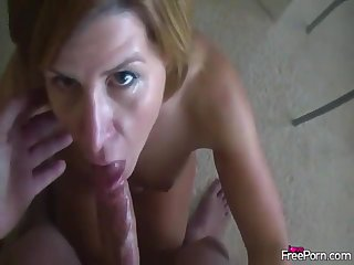 wife with sweet lips blows my big throbbing cock in POV style