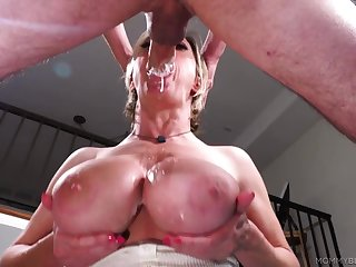 Mature gags with her step son's dick in her mouth