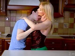 Mature blonde Nadya Basinger seduces young student and a bangs him like nobody else before