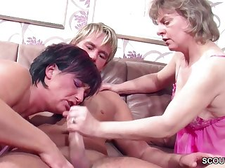 German Step-Mom and Aunt Seduce Young Boy to Make Love her