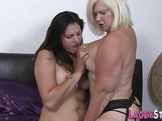 Full-Bosomed granny loves to lick wet slit - older sluts go lesbian