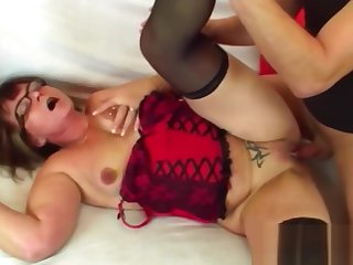 Old lady Jana gets fucked after giving sloppy blowjob to younger guy