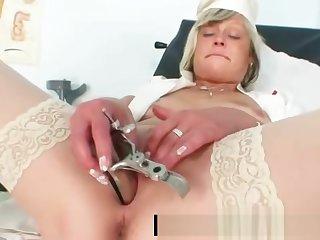Filthy nurse milf Nada fucks herself