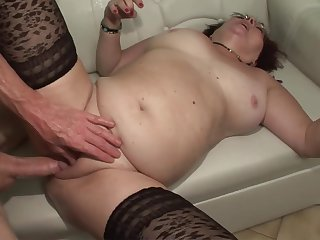 Slutty full granny degluting and sitting on penis to get facial - porn star