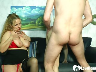 Blonde mistress teaches a hottie how to please