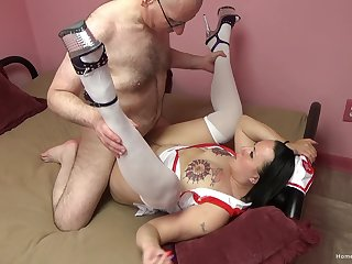 Big ass nurse fucked by senior man and made to swallow jizz