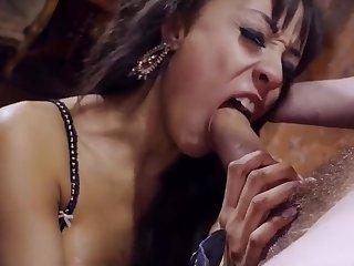 Alyssa manhandled - gagging on gigantic dick