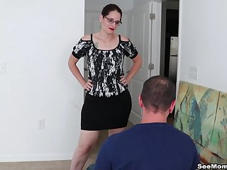 Busty mature Christine Sapphire loves to be on her knees sucking