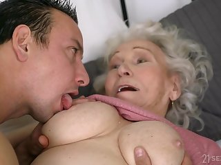 Old ugly GILF Norma B fucked by young man - cumshot