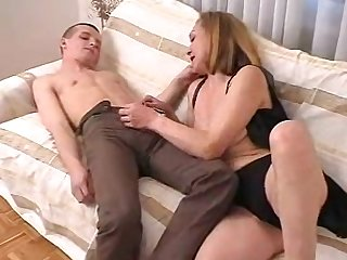 Horny guy gets lucky with a cock craving brunette cougar