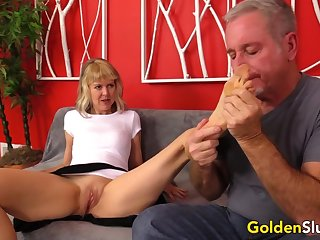 Hot British GILF Jamie Foster Puts Grandpas Cock to the Test