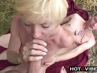 Nephews Sneak Grandma Away For A Threes - 1080p