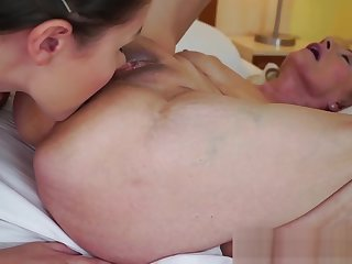 Grany Szuzanne and babe Liza Shay eat each other pussies