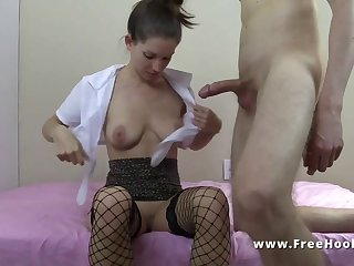 Nasty hooker MILF in stockings removes condom for hardcore penetration