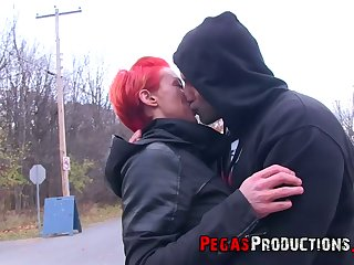 Neon red haired Canadian floozy Tender Mya gets facial after crazy sex with her new fellow