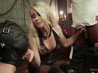 Nasty mature fucks cocky black dude in front of her bound slave