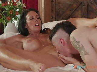 Punk stepson eats pussy of his stepmother Reagan Foxx